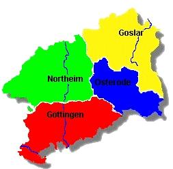 Karte aller Kreise in der Region SüdNiedersachsen-Harz