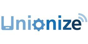 """Schriftzug v""""Unionize"""" in Blautönen; einige Buchstaben im Stil eines Tablets und eines RSS-Symbols gestaltet"""